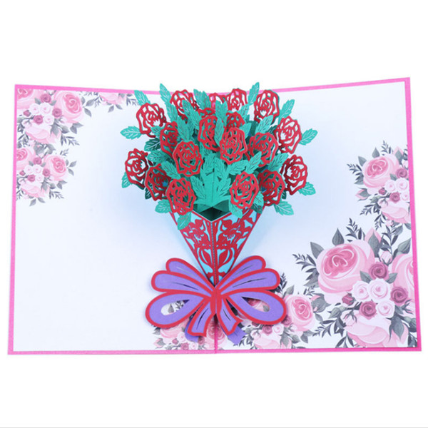 Valentine's Day 3D Love Pop UP Cards with Envelope Stickers Wedding Laser Cut Invitation Greeting Cards Anniversary for Her