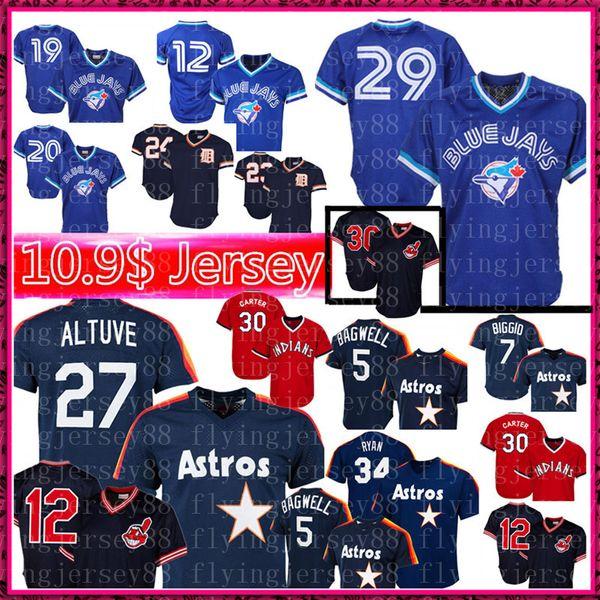 official photos 11c17 a6c0b 2019 Retro Toronto 29 Joe Carter Blue Jays 12 Roberto Alomar Jersey 27 Jose  Altuve Houston Mens Astros 34 Ryan Cleveland Joe Carter Indians Good From  ...