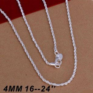 Hot Selling 925 sterling silver Necklaces Jewelry Twist ROPE CHAIN Necklace 4MM 16inch/18inch/20inch/22inch/24inch Free Shipping