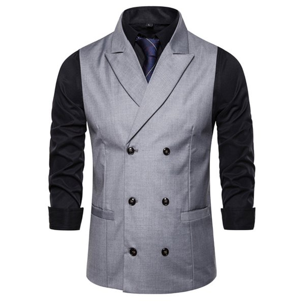 Mens Business Suit Slim Vest V Neck Double Breasted Sleeveless Fashion Solid Color Outerwear Male Clothing