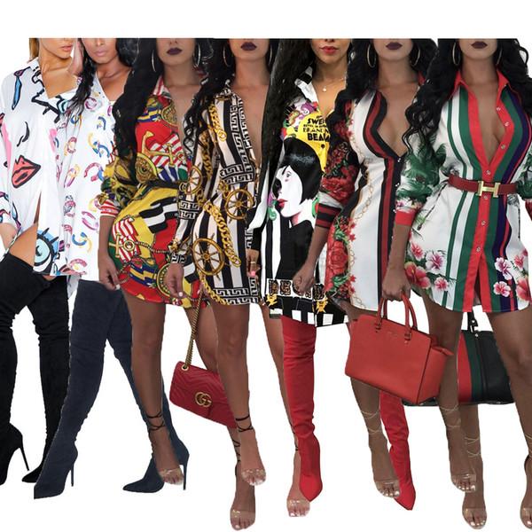 Damen Designer Kleid Mode Gedruckt Kleider Luxus Party Charakter Roten Lippen Goldkette Muster Hemd Sexy Geometrische Plus Größe Kleidung 2019