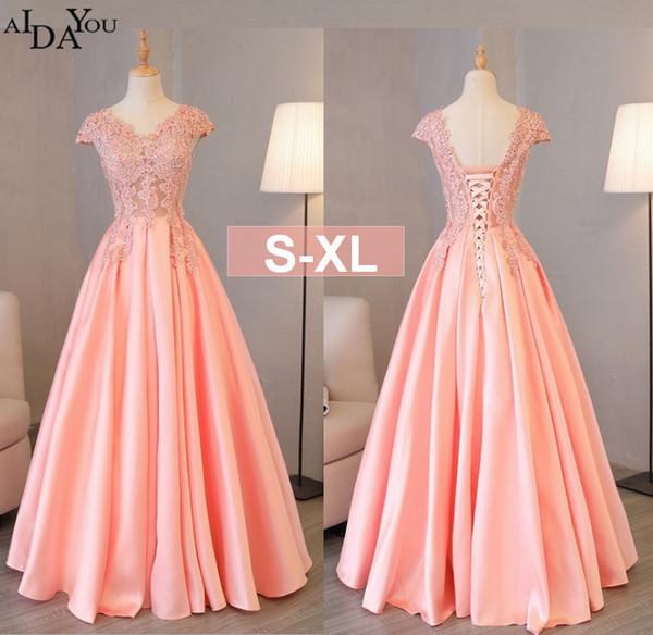 75a9d32c4 Vestidos de noche para mujer Vestidos largos de encaje para banquete Una  línea con cuello en