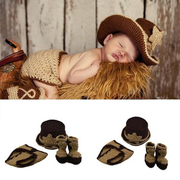 Newborn Boy Cowboy Photo Photography Props Knitted Infant Cartoon Costume Stylish Western Cowboy Hat Booties Set