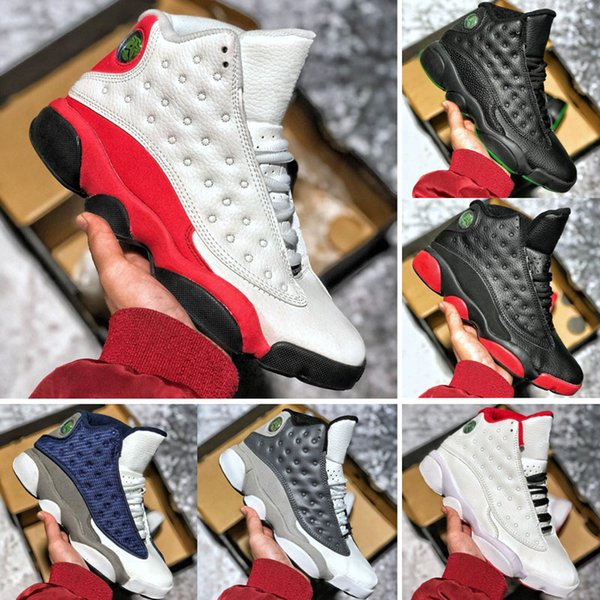 New AirJodan 13 Mens Women Basketball Shoes Bred Black Infrared Cat Brown Blue White Chicago flints Grey Red Cap And Gown Sports Sneakers