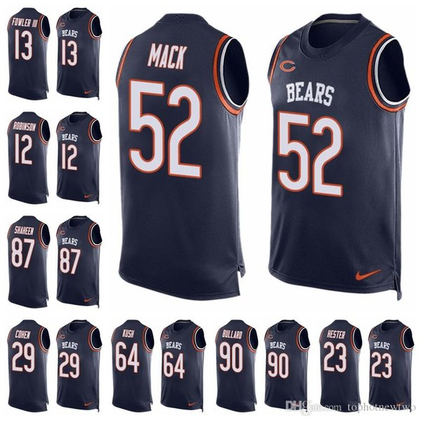 30373d86cf1 Chicago Limited football Jersey Bears Navy Blue Player Name & Number Tank  Top 52 Khalil Mack