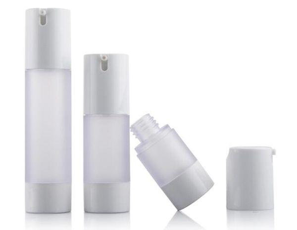 30pcs 15ml / 30ml / 50ml botella recargable de la loción del vacío, 15ml frosted AS + PP botella plástica sin aire de la bomba Envío libre