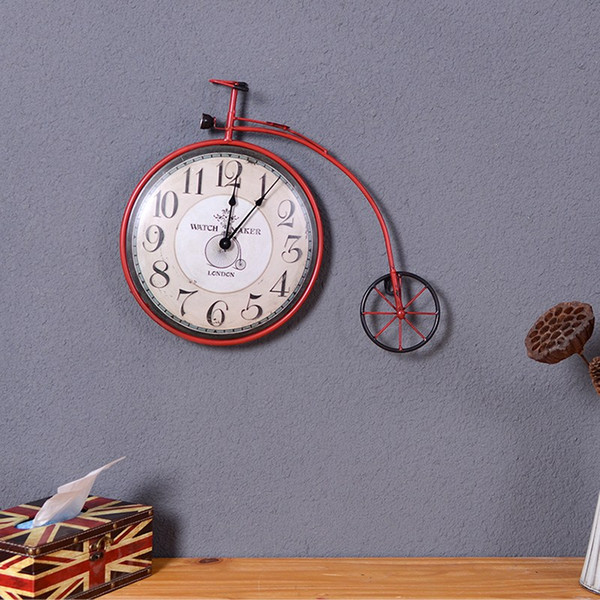 European Bicycle Wall Clock Modern Design Creative Wrought Iron Crafts Ornaments Accessories Home Living Room Shop Wall Decorate