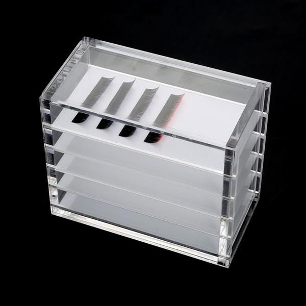 Clear Eyelash Storage Box Makeup Organizer 5 Layers Grafting Eyelashes Pallet Holders False Eyelash Carrying Box Cosmetic Case
