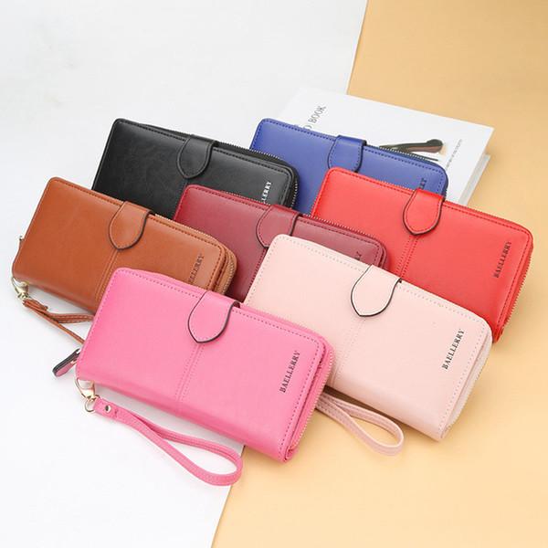 Frauen PU Leder Lange Brieftasche Kartenhalter Mode Geldbörse Große Handtasche Für Mädchen Feste Handtasche PPA409