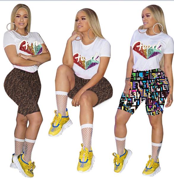Mulheres de duas peças set sportswear camiseta de manga curta shorts sportswear verão agasalho fato de treino plus size s-2xl terno do basculador 888