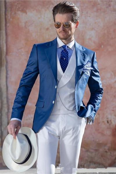 Nuovo arrivo Due bottoni Groomsmen Notch Risvolto Smoking da sposo Abiti da uomo Matrimonio / Prom. Blazer da uomo (giacca + pantaloni + vest + cravatta) A264