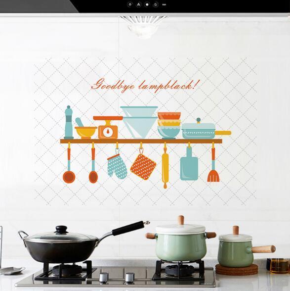 Neue Küche ölbeständige Aufkleber Aluminiumfolie hohe Temperatur selbstklebende ölbeständige Fliesenaufkleber Küche Öltopf ist nicht kreativ fas gefärbt