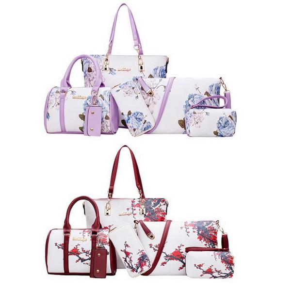 Oeak Women's Bag Sets 5-pcs Women Outdoor Hand bag Floral Print Pu Leather Women Print Messenger Shoulder