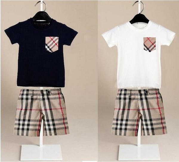 Bebé niños niñas conjuntos nuevos Bebé niños 2 Unidades conjuntos bolsillo a cuadros camisa de manga corta + pantalones cortos a cuadros conjuntos de ropa para niños
