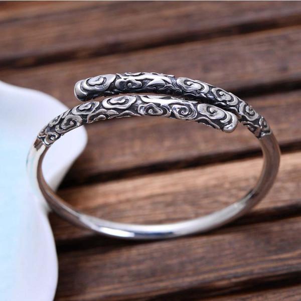 Китай стиль стерлингового серебра 925 ретро гравировка золотой дизайн дубинки браслет для женщин мужчин подарок