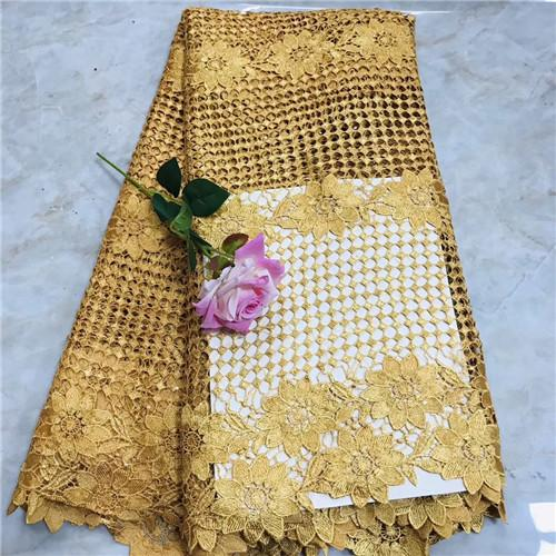 WTY1056 New arrival African water soluble lace fabric in gold color 5 yards Nigeria wedding lace fabric in different pattern!
