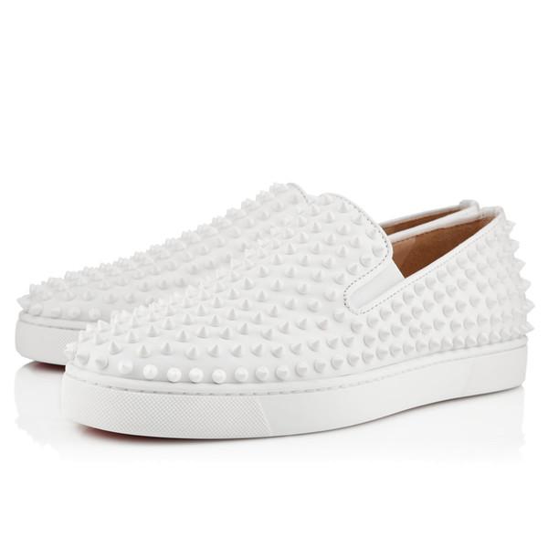 Neue Marke Red Bottom Loafers Luxus Party Hochzeit Schuh Designer SCHWARZ PATENTLEDER Wildleder mit Quasten Spikes Nietenbesetzte Abendschuhe für Herren