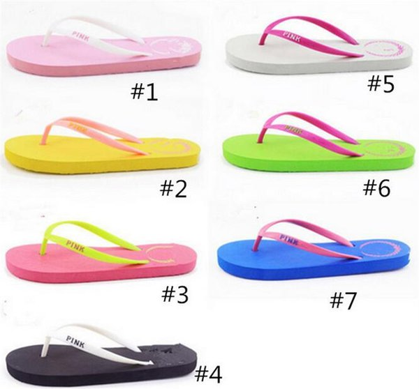 Girls love Pink Sandals Candy Colors Pink Letter Slippers Shoes Summer Beach Bathroom Casual Rubber Slides Flip Flop Sandals 2piece/pair