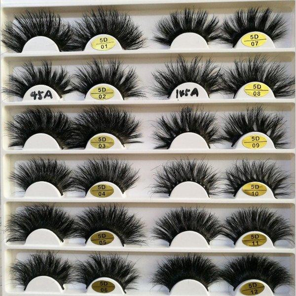 3D Nerz Wimpern 25mm Nerz Wimpern Augen Make-up Dicke Lange Locken Nerz Wimpern Verlängerung Natürliche Falsche Wimpern RRA1221
