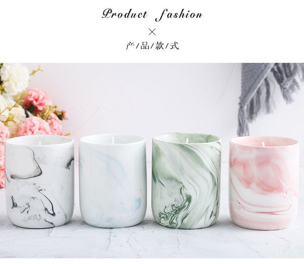 Manufacture Direct Hand Made Ceramic Aromatherapy Candle Holders Round Shape Romantic White Porcelain Personalized Marble Texture Candle Hol