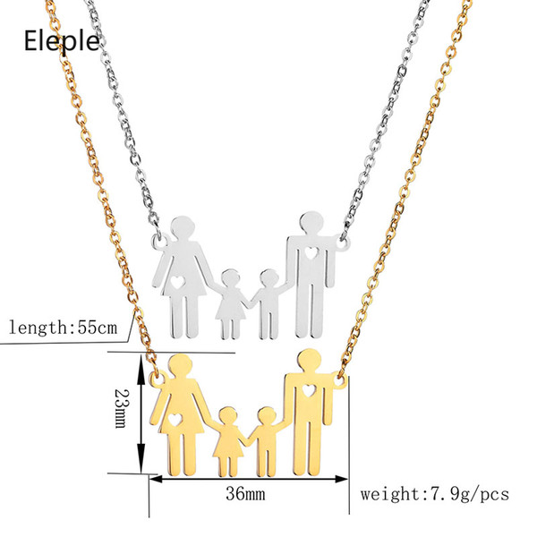 Eleple из нержавеющей стали папа мама дети рука об руку кулон ожерелья полые любовь мультфильм простой семьи ключицы цепи S-N690