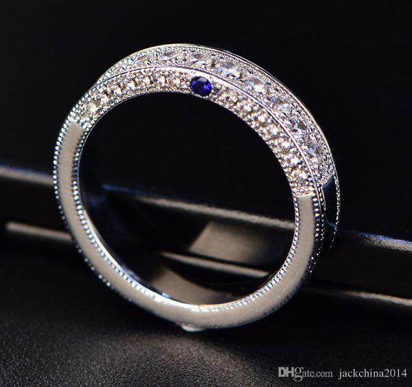 2018 Yeni Varış Marka Vintage Moda Takı 925 Ayar Gümüş Doldurun mavi Sappgire Parti Kadın Pürüzsüz Düğün Band Yüzük Kadınlar için Hediye