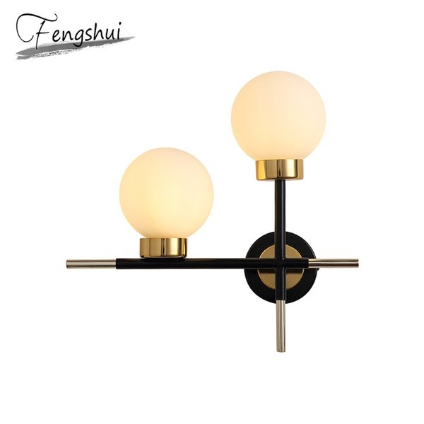 nordic glass led wall lamps indoor decor sconces bathroom luminaire bedroom bedside aisle living room study room light fixtures