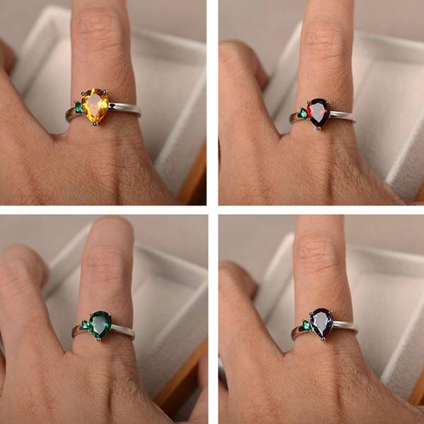 12 anillos de plata de circonio cúbico de color para mujer en forma de pera anillo de compromiso de diamantes de imitación rojo para fiesta femenina anillo negro mujeres