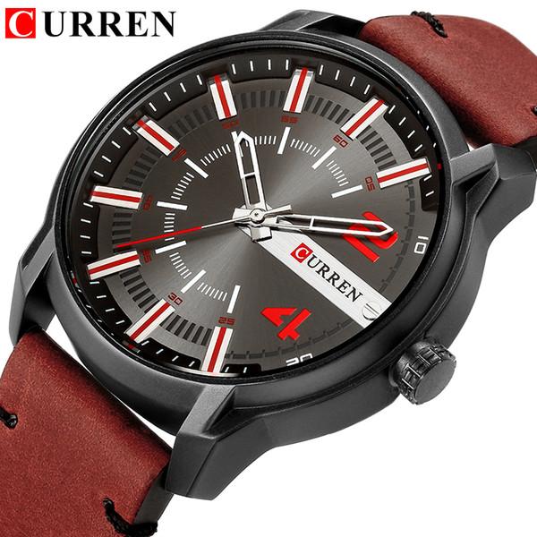 Yeni erkek Saatler Marka CURREN Rahat Iş Kuvars Kol Saati Deri Kayış Saat Relogio Masculino Reloj Hombre