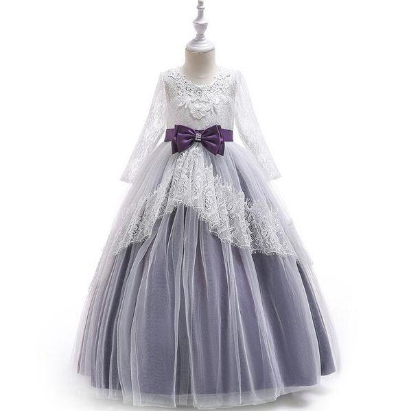 Fairyshm Flower Girl Dress Female Piano Costume Host Prom Evening Dress Lace Tube Top Flower Mesh Long Sleeve Dress MY0052