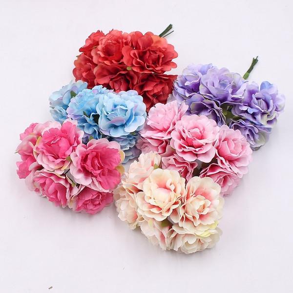 6pcs Cheap Silk Rose High Quality Artificial Peony Bouquet Wedding Home Decoration Diy Wreath Clip Art Manual Craft Fake Flowers