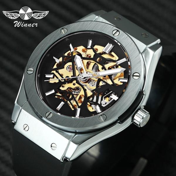 Ganador Hombres Relojes militares 2019 Moda reloj de pulsera mecánico automático correa de goma Esqueleto caja de acero inoxidable Reloj Hombre + Caja J190705