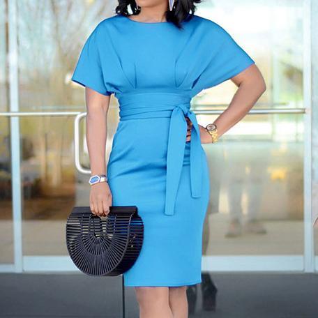 Fashion New Women Summer Dress Casual Straight Solid Sashes Sopra il ginocchio Mini O-collo drop shipping abiti firmati di buona qualità