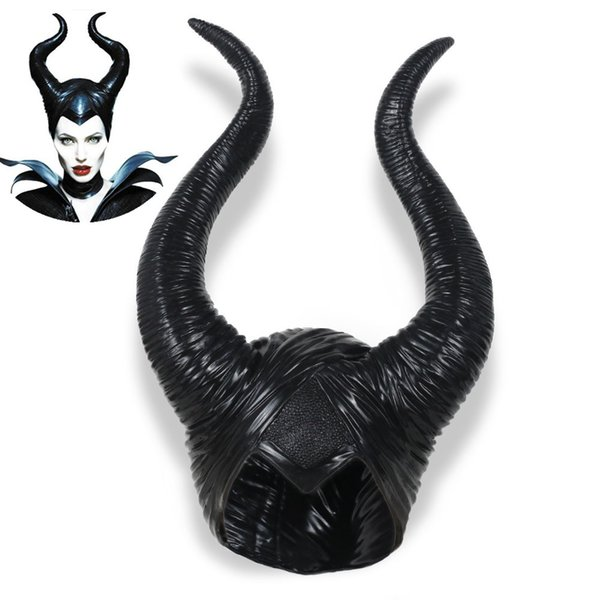 Halloween Movie Maleficent Horns Headpiece Mask Women's Cosplay Maleficent Latex Mask Masquerade Party Cosplay Costume Props