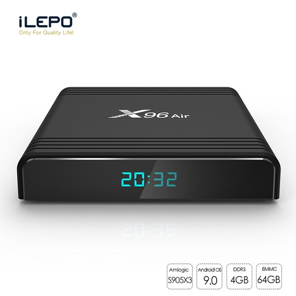 X96 Air Android TV Box avec Android9 S905X3 4 Go 32 Go / 64 Go 2.4G + 5G wifi Bluetooth smart box TV 8K 1080P Mise à jour mini-X96