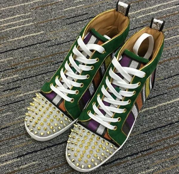 2019 Nova Marca Designer Cravejado Spikes Flats sapatos Sapatos de Fundo Vermelho para Homens Amantes Do Partido Das Mulheres Tênis De Couro Genuíno Tamanho 35-45
