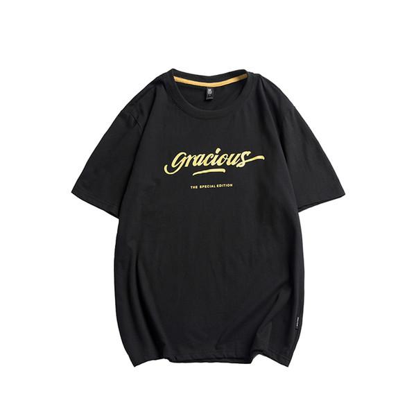 2019 Baskılar T Gömlek Erkekler Slim Fit Moda% 100% Pamuk Ekip Boyun Kısa Kollu Tişört Yaz Yeni Artı Boyutu Y1455 Tops