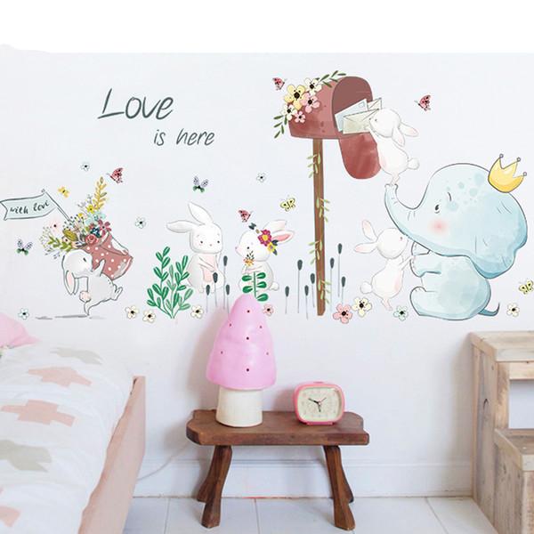 Bello del fumetto Animali Wall Stickers per bambini Camere Conigli Elephant ricevere l'email vinili decorativi per Pareti Room Decor