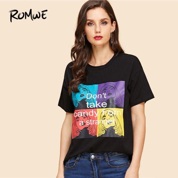 Romwe Kız Ve Mektup Baskı Tee 2019 Chic Kadınlar Siyah Yuvarlak Boyun Elbise T Shirt Grafik Yaz Kısa Kollu T Gömlek Y19042101