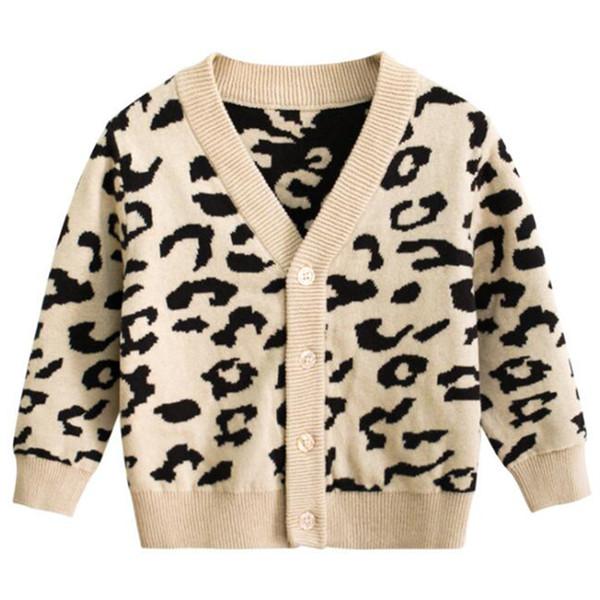Детский кардиган вязать модный леопардовый свитер Корейские куртки для мальчиков и девочек Детская одежда Осень Осень Носить свитер
