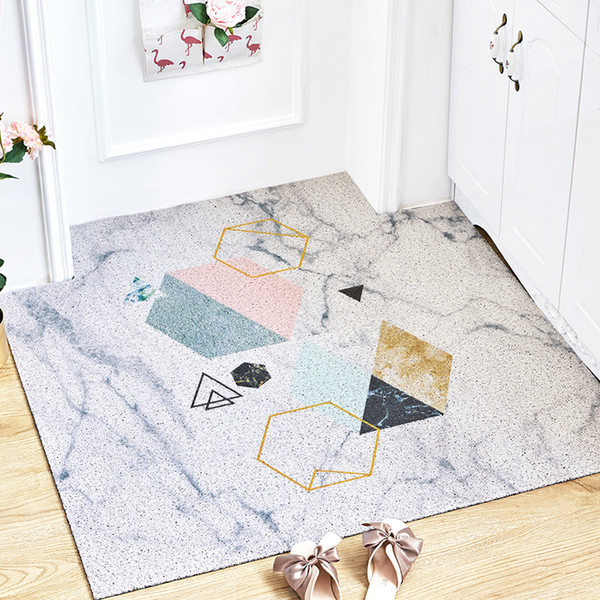 Nordic INS marble geometry entrance hall carpet PVC wire loop mat INS Door mat Living room floor bathroom non-slip rug