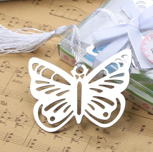 Mariposa plateada de metal Marcadores Marcadores Borlas blancas boda baby shower decoración del partido favorece regalos regalos
