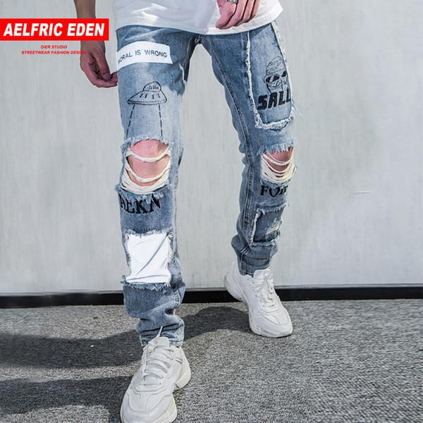 Aelfric Eden Reflective Men Skinny Ripped Jeans 2018 Vintage Biker Jogger Distressed Hole Baggy Denim Slim Fit Casual Pants KJ06
