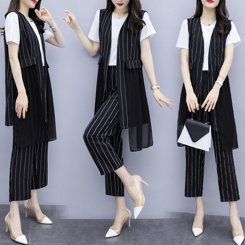 Office Lady Striped Women's Summer Suit Women 3 Piece Outfits Conjunto Feminino Year-old Female Costume Top&pants Set Ukraine