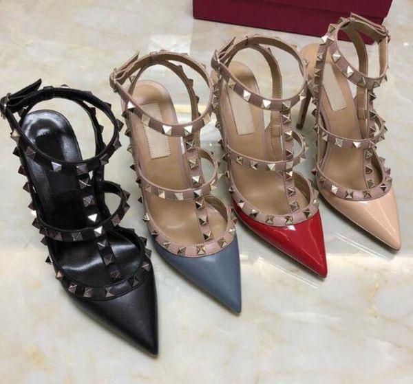 Femmes Noir Mat Plateforme Pompes Sexy Point Toe Rivet En CuirHaut Chaussures À Talons Haut De Mode Boucle Cloutés Stiletto Sandales 34-43 Boîte