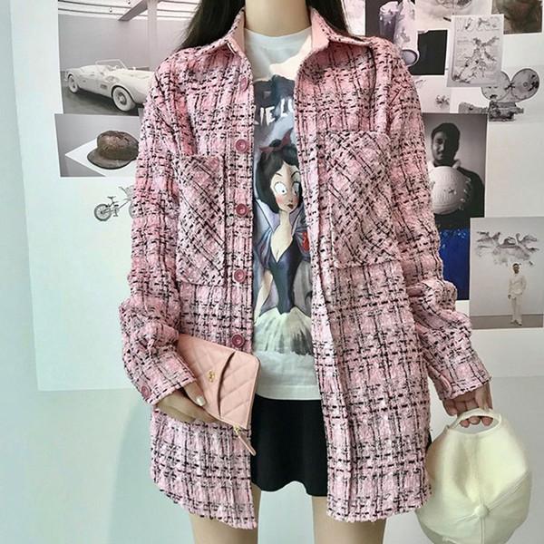 Capispalla giacca in tweed scozzese lunga da donna 2019 Autunno Inverno Coreano Ladies Tweed Coat Capispalla slim femminile