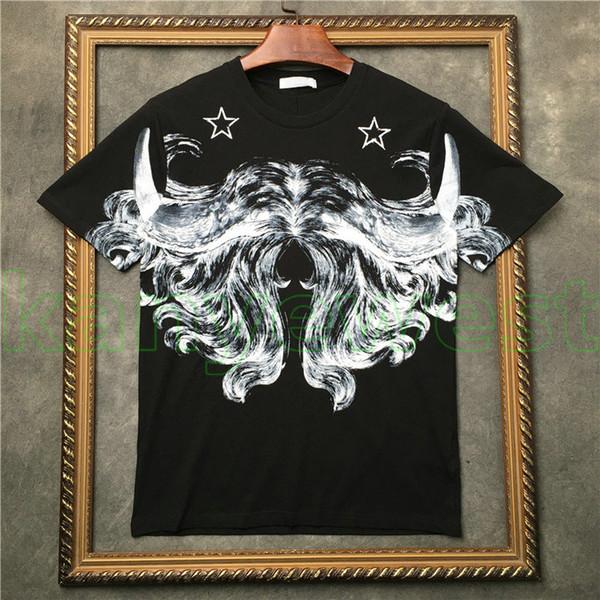2019 Hot Brand Europe mens Graffiti abstract line print camiseta moda Pentagram imprimir camisetas de buena calidad Camisetas de diseño