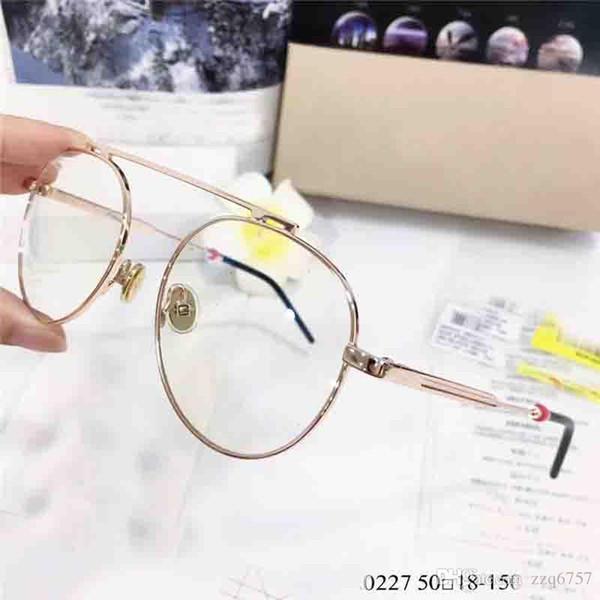 Новый модельер очки 0227 ретро круглый металлический каркас прозрачные прозрачные линзы простые модные оптические очки серии высокое качество