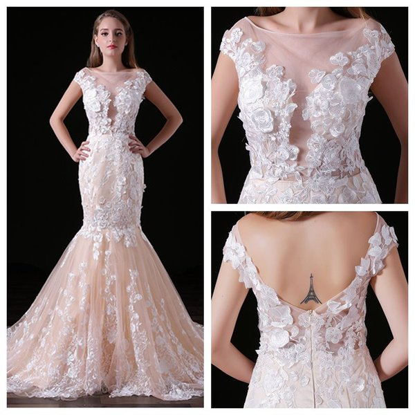 MA020 Scoop Cap Sleeve Mermaid Prom Dress 3D Lace Appliques Champagne Evening Dress with Fish Tail Low Back Sexy Party Dresses