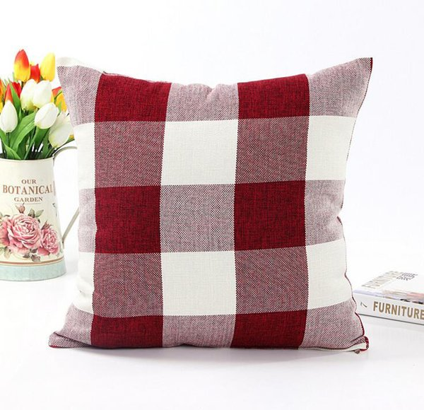 Classic large lattice pillowcase Natural linen decorative pillow case Living room bed office cushion cover 45*45cm TC190318 100pcs